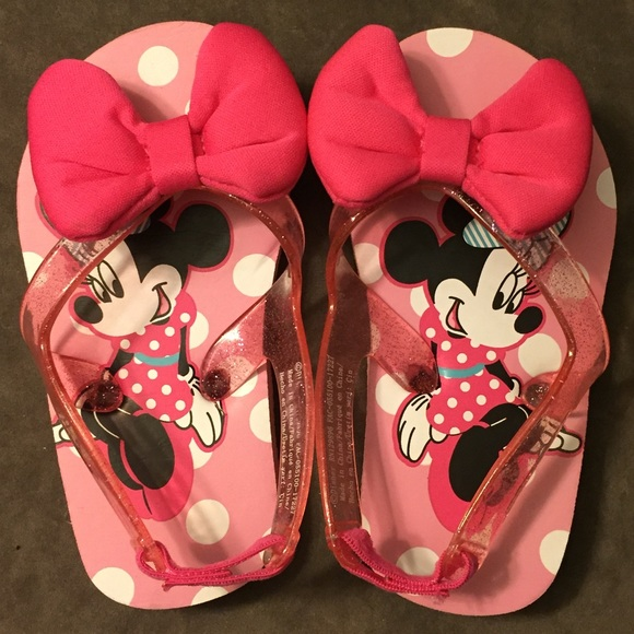 Minnie Mouse Girls Toddler Flip Flop Shoes W Back Strap Size Medium 7-8  NEW